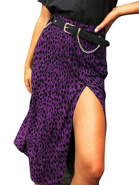 Milanoo Women Skirt Leopard Print Autumn And Winter Women Bottoms