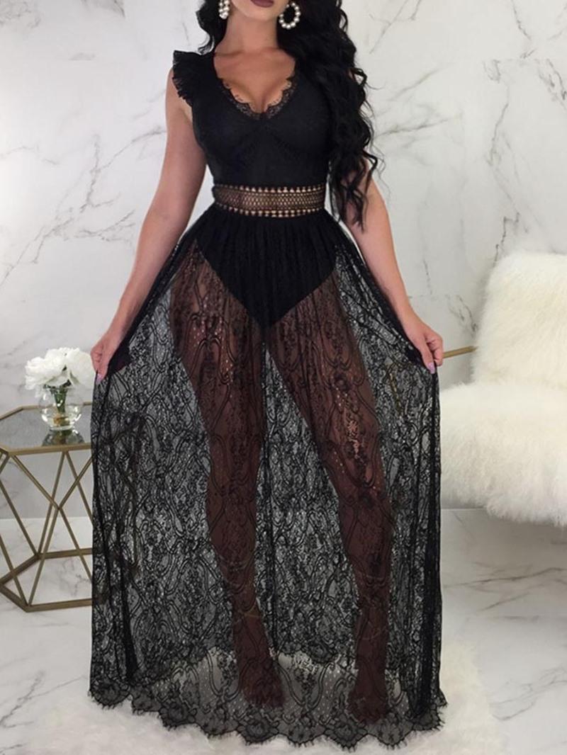 Ericdress Cap Sleeve Ankle-Length V-Neck See Through Dress