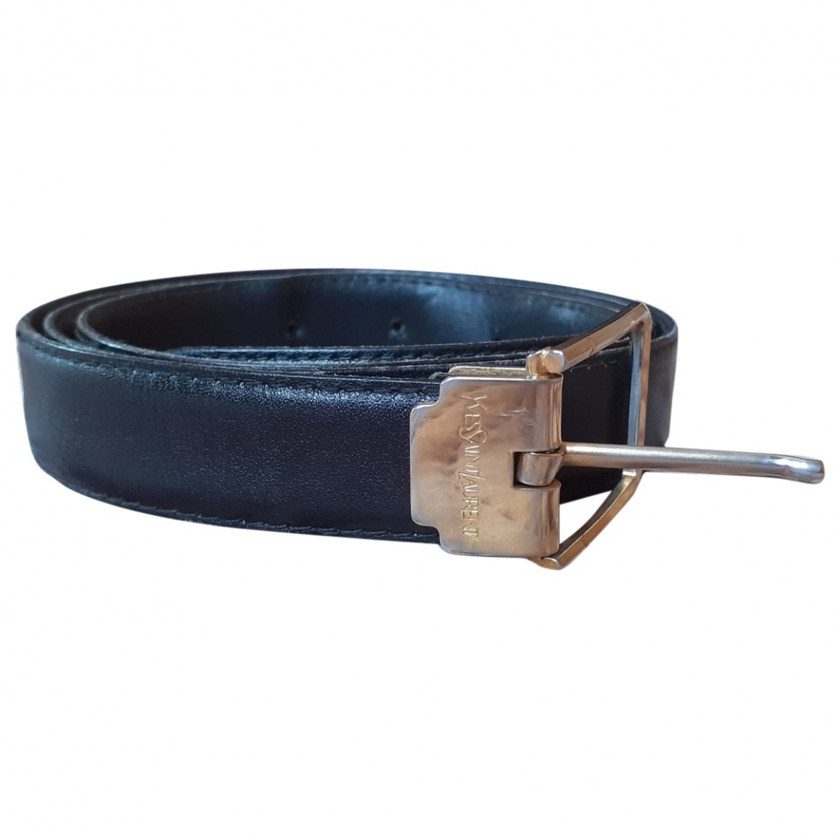 Yves Saint Laurent \N Black Leather belt for Men 100 cm