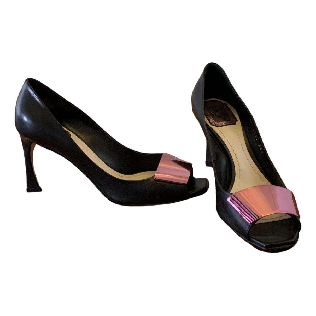 Dior \N Black Leather Heels for Women 38.5 IT