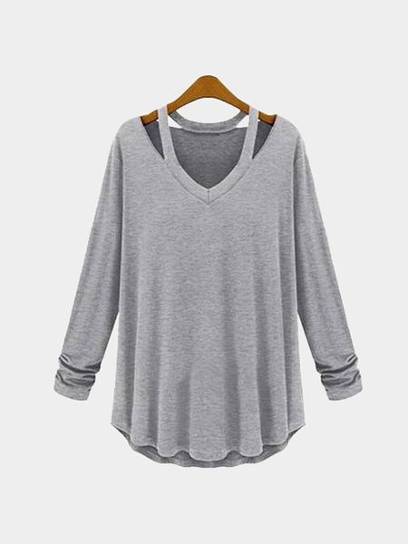 Yoins Grey Cut Out Design V-neck Long Sleeves T-shirt