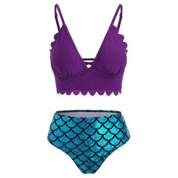 Scalloped Lattice Metallic Mermaid Pattern Tankini Swimwear