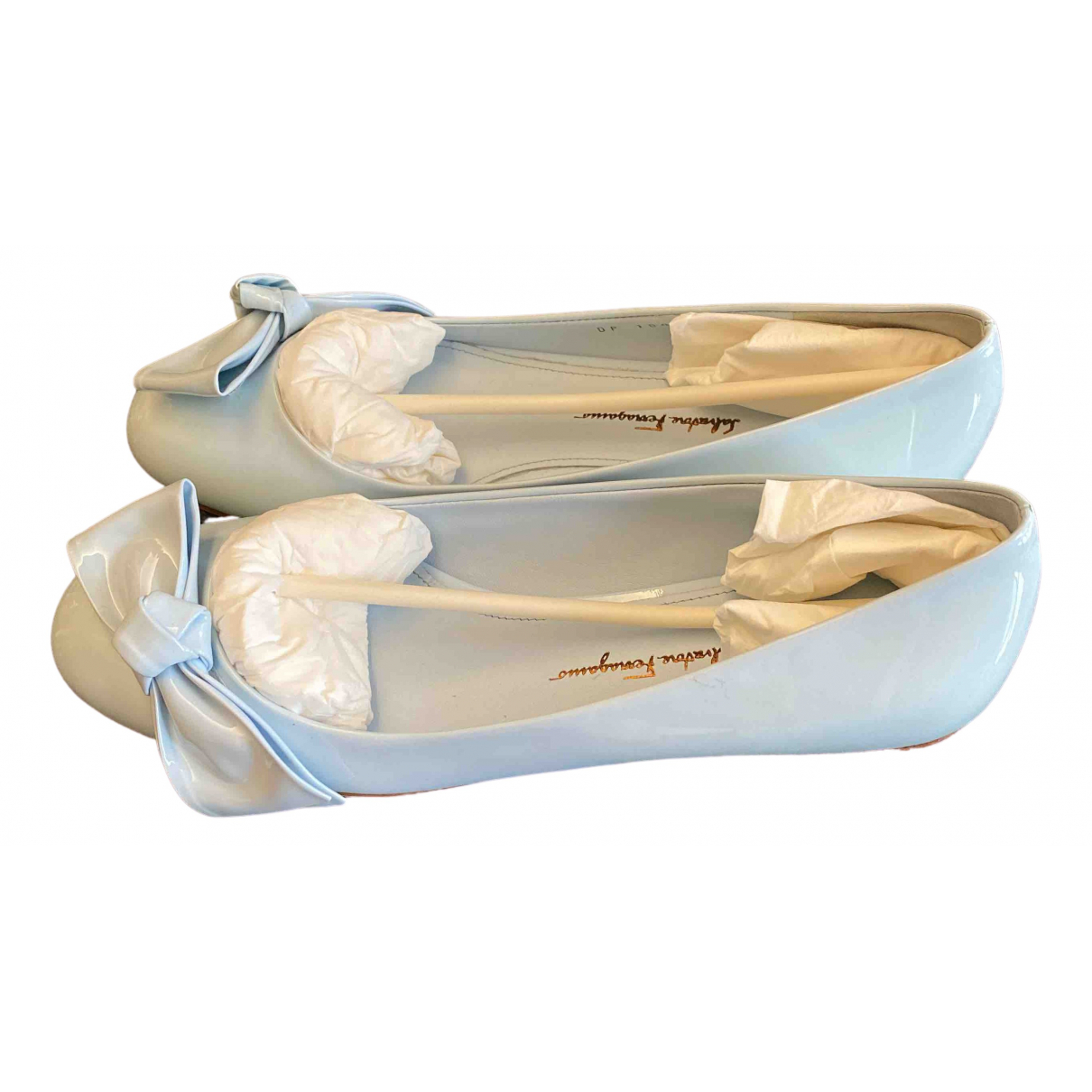 Salvatore Ferragamo \N Blue Patent leather Ballet flats for Women 7 US
