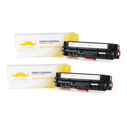 Compatible HP 312A CF382A cartouche de toner jaune - Moustache@ - 2/paquet