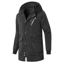 Men Zip Up Flap Pocket Hooded Coat