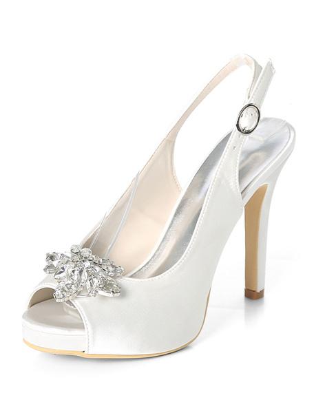 Milanoo Silver Wedding Shoes Satin Peep Toe Rhinestones High Heel Bridal Shoes
