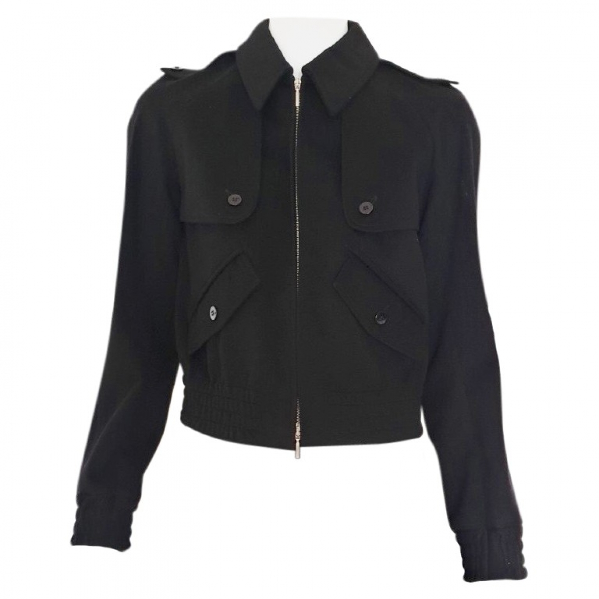 Non Signé / Unsigned \N Black Cashmere Leather jacket for Women 38 IT