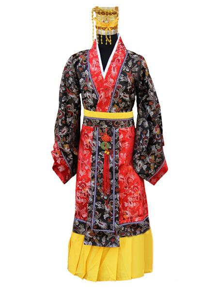 Milanoo Halloween Chinese Emperor Costume Tang Suit Costume Crown Hanfu Dragon Robe Set For Men