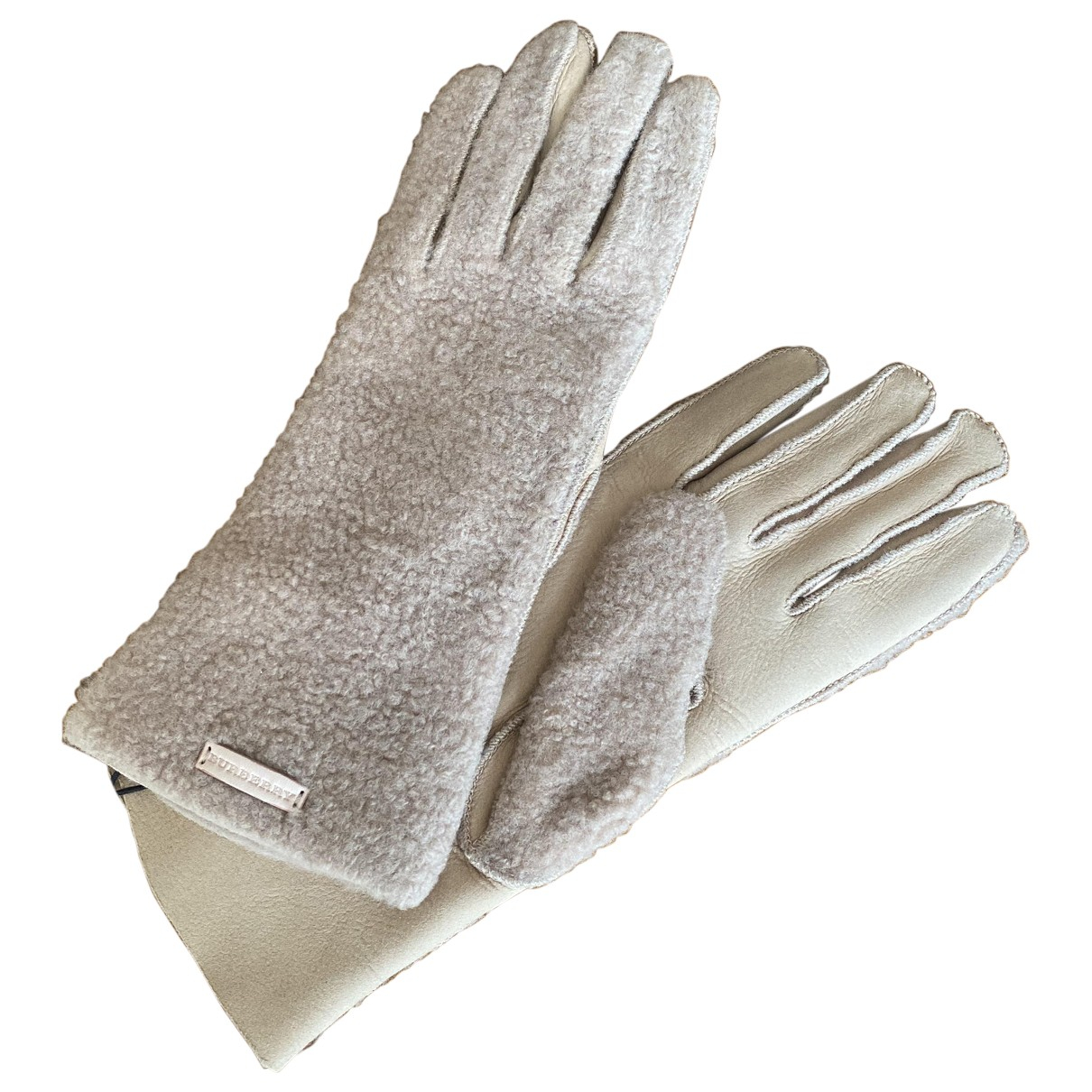 Burberry \N Beige Leather Gloves for Women 7 Inches