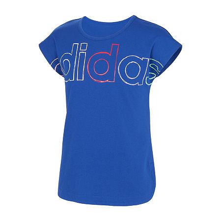 adidas Big Girls Embellished Scoop Neck Short Sleeve Graphic T-Shirt, Small (7-8) , Blue