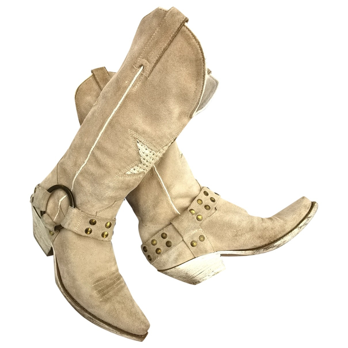 Non Signé / Unsigned Hippie Chic Beige Suede Boots for Women 37 IT