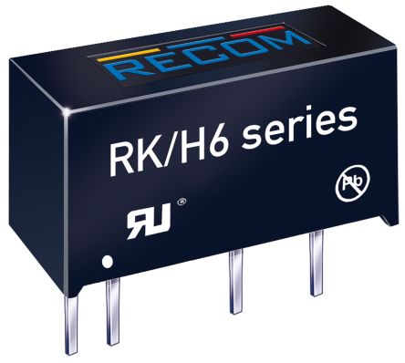 Recom RK 1W Isolated DC-DC Converter Through Hole, Voltage in 4.5 → 5.5 V dc, Voltage out 12V dc