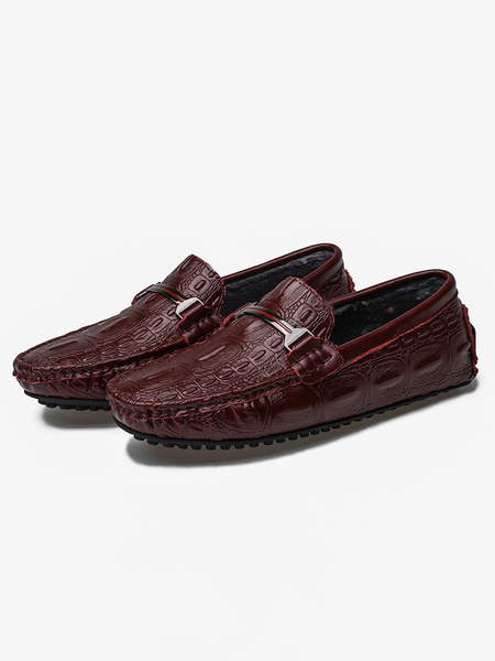Milanoo Mens Brown Moccasin Loafers Croco Print Plush Internal Driving Shoes
