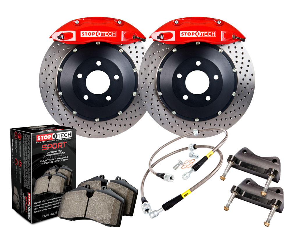 StopTech 83.160.4C00.72 Big Brake Kit; Black Caliper; Drilled Two-Piece Rotor; Front BMW M3 Front 2008-2009
