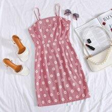 Zip Back Daisy Floral Cami Dress