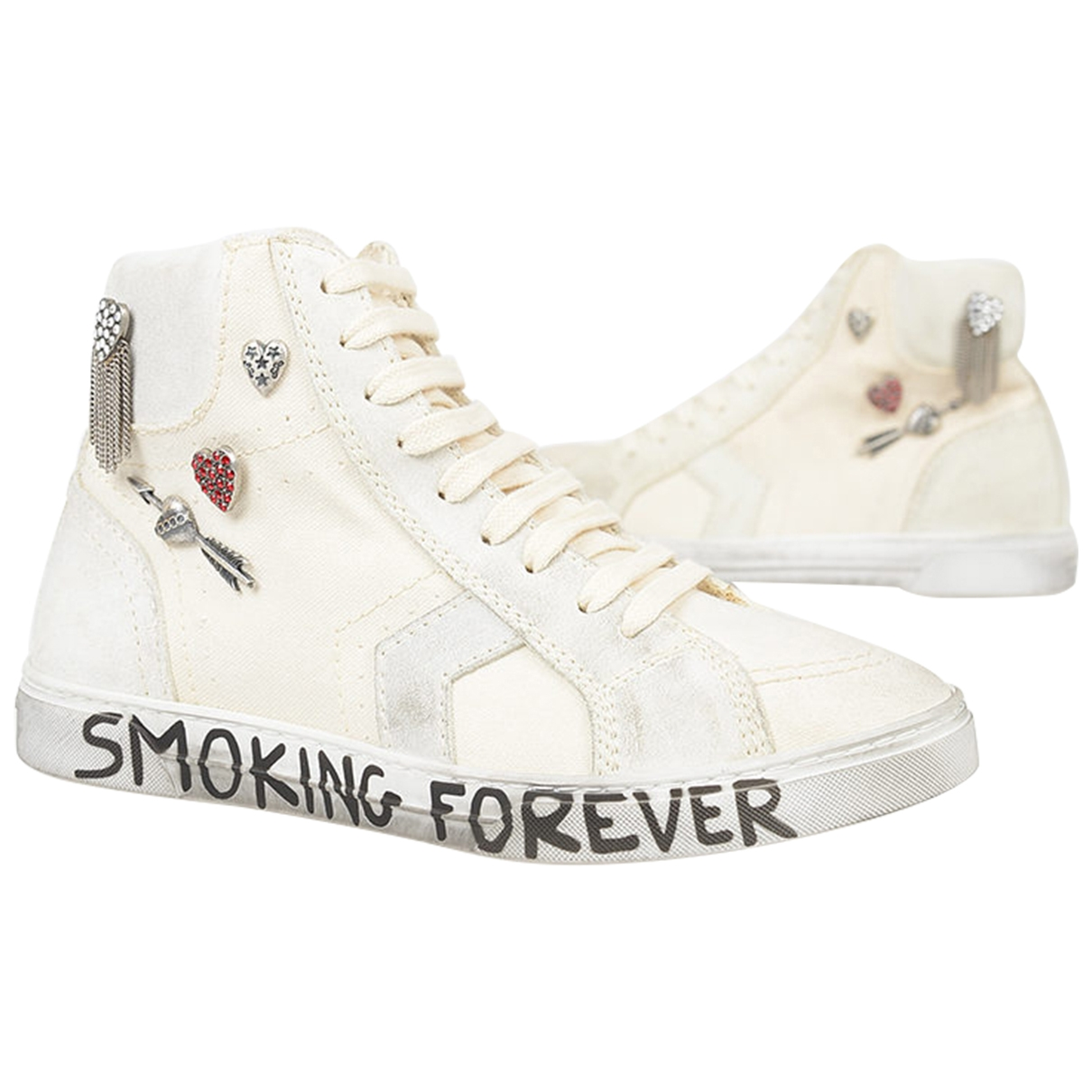Yves Saint Laurent \N White Cloth Trainers for Women 37.5 IT