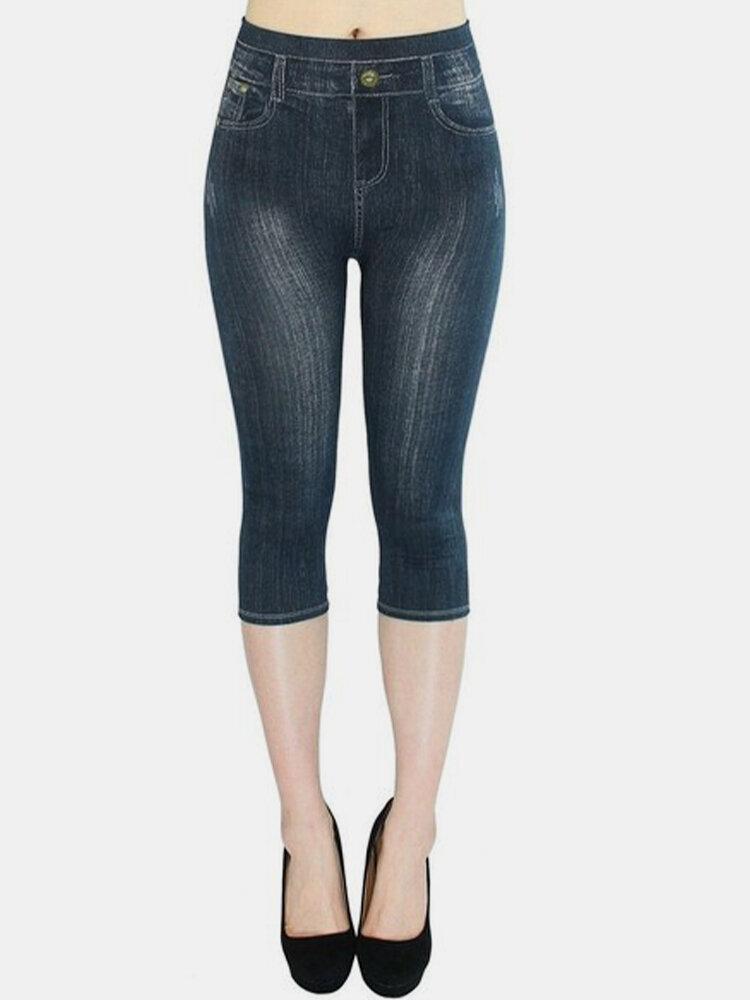 Print Elastic Waist Plus Size Denim Legging Pants