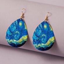 Galaxy Pattern Water Drop Earrings