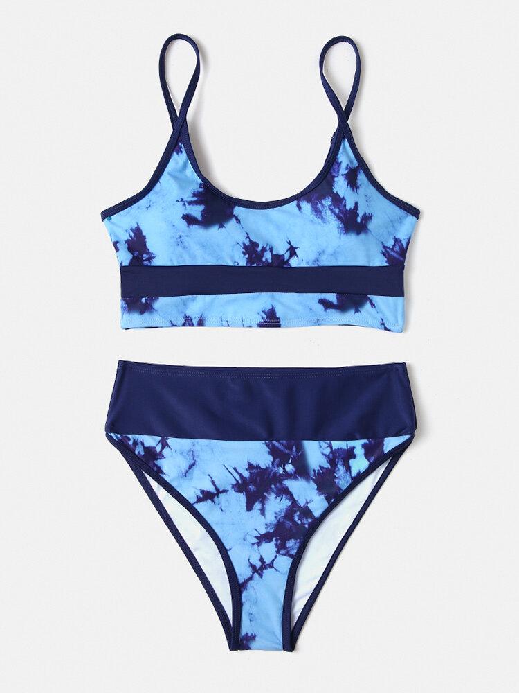 Women Tie-Dye Patchwork High Waist Bikinis Sexy Swimsuit