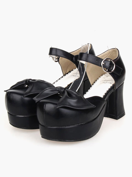 Milanoo Lovely PU Leather Black Lolita Sandals