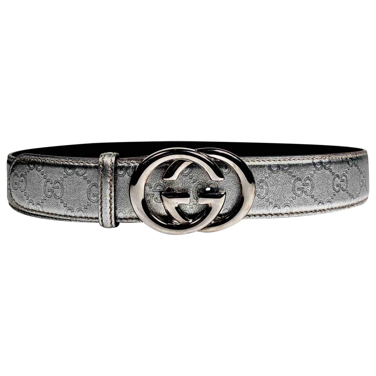Gucci Interlocking Buckle Silver Leather belt for Women 95 cm