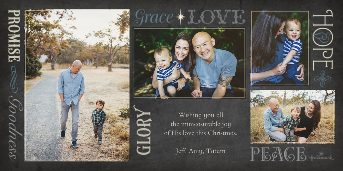 Religious Christmas Cards Flat Glossy Photo Paper Cards with Envelopes, 4x8, Card & Stationery -Love Glory Hope Grace