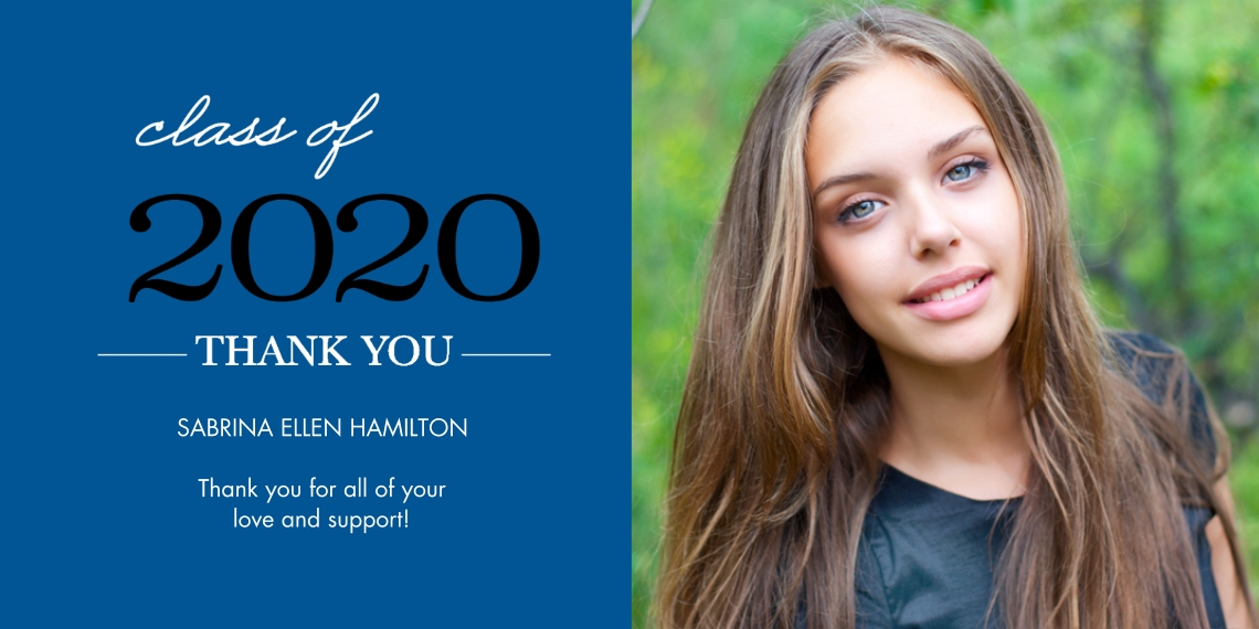 Graduation Thank You Cards Flat Glossy Photo Paper Cards with Envelopes, 4x8, Card & Stationery -Grad Thank You 2020 Stack by Tumbalina