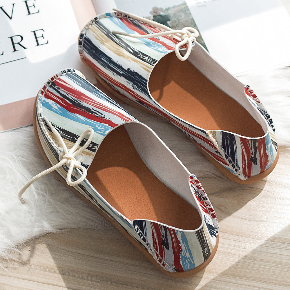 Women Casual Soft Sole Colorful Pattern Round Toe Open Heel Flats