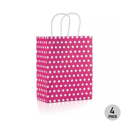 Sac cadeau à pois en papier kraft - Moyen, rose vif 4Pcs - LivingBasics™