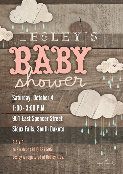 Baby Shower Invitations Flat Glossy Photo Paper Cards with Envelopes, 5x7, Card & Stationery -Wooden Baby Shower - Pink