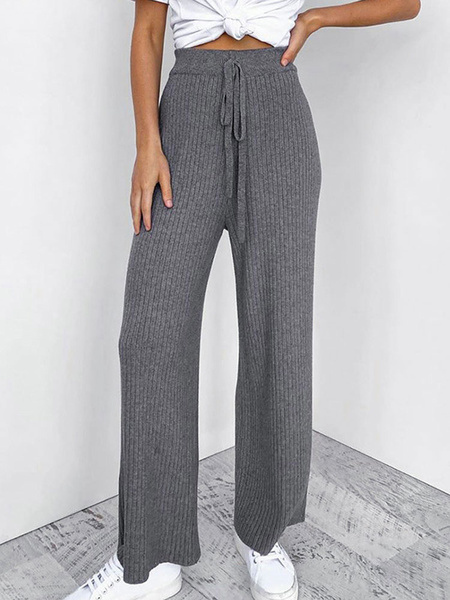 Milanoo Knitted Pants Gray Tie Waist Straight Leg Trousers
