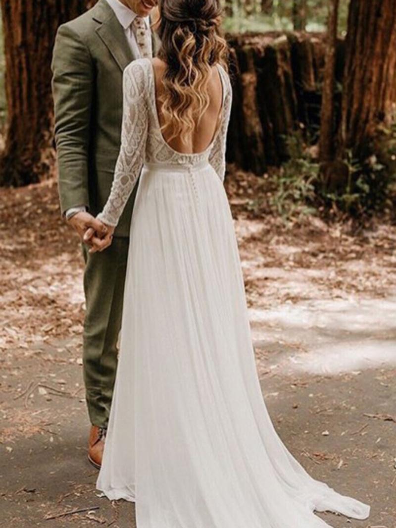 Ericdress Button Lace Long Sleeves Wedding Dress
