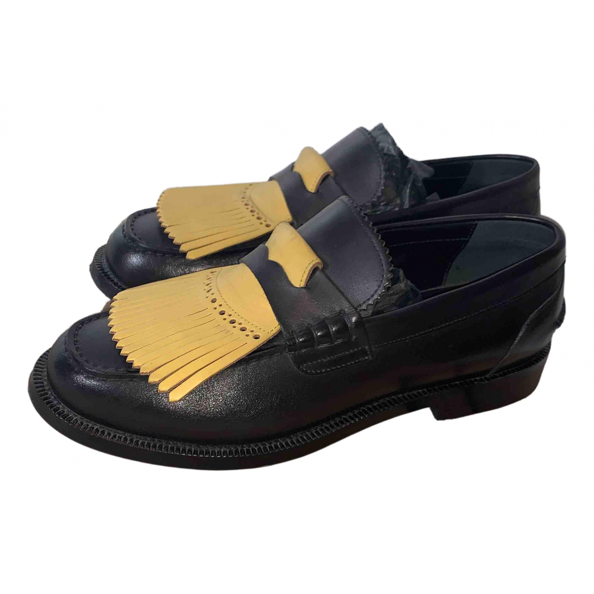 Burberry \N Black Leather Flats for Women 39.5 IT