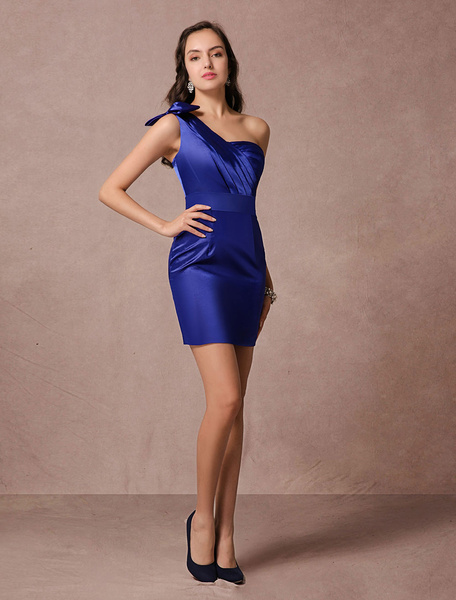Milanoo Blue Satin Cocktail Dress Sheath One-shoulder Backless Short Party Dress wedding guest dress