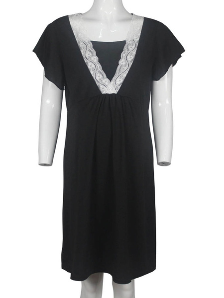 Milanoo Grey Maternity Dress Cotton Short Sleeves Pregnant Dress