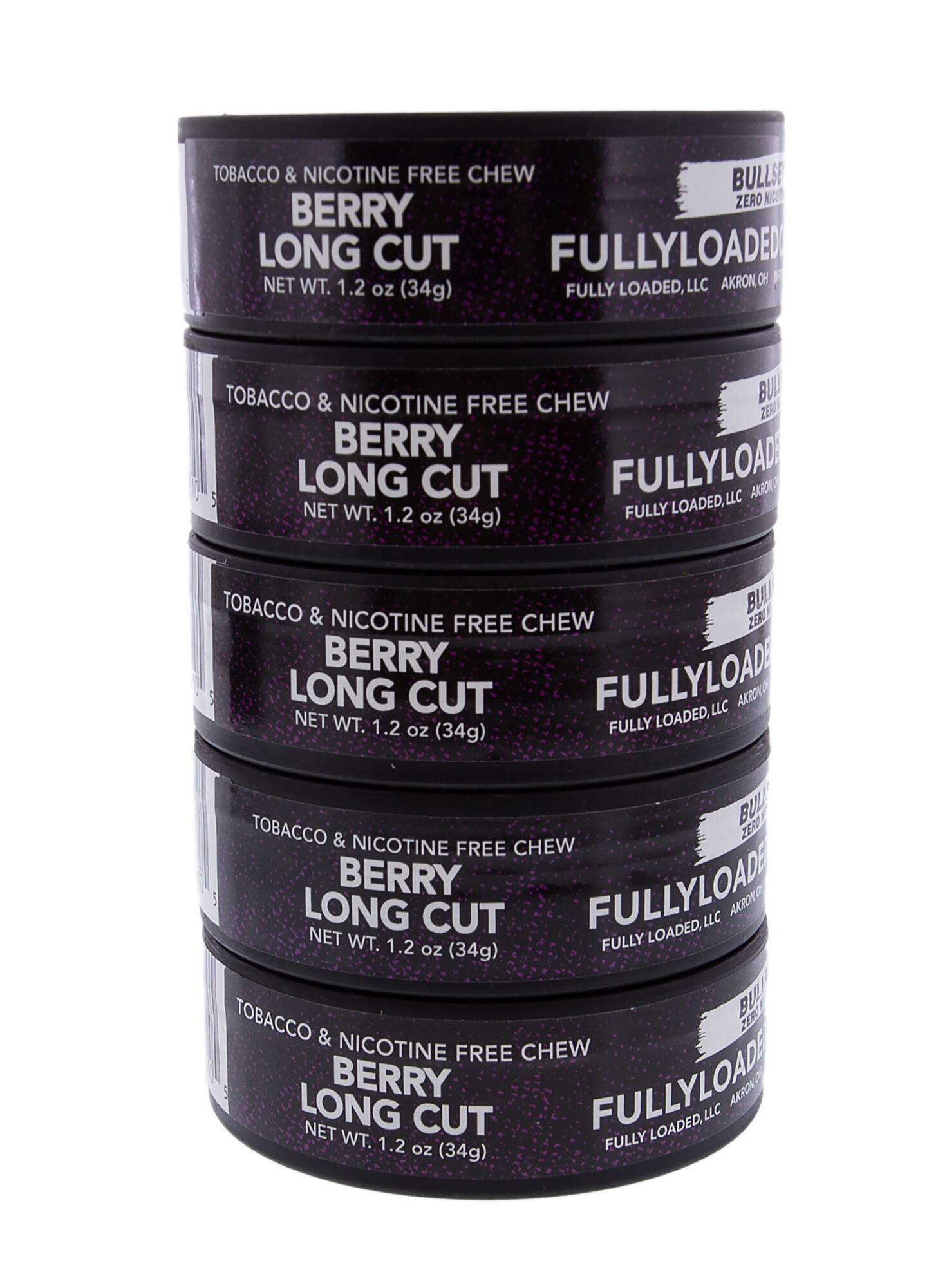 Fully Loaded Chew Tobacco and Nicotine Free Berry Bullseye Long Cut Popping Flavor, Chewing Alternative-5 Cans
