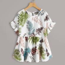 Plus Tropical Leaf Print Peplum Top