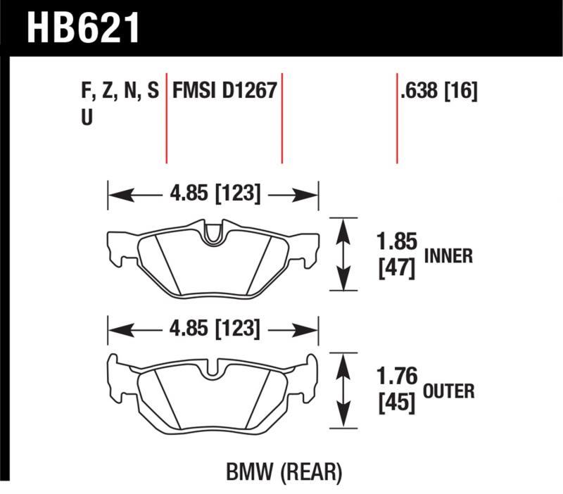 Hawk Performance HB621S.638 Disc Brake Pad BMW Rear