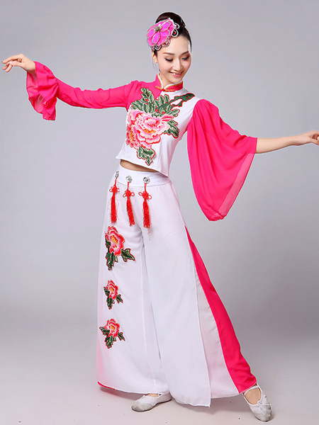 Milanoo Chinese Costumes Nice Carnival Dance Costumes Peony Flower Outfit