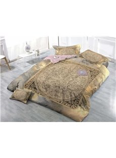 Vintage Style Wear-resistant Breathable High Quality 60s Cotton 4-Piece 3D Bedding Sets
