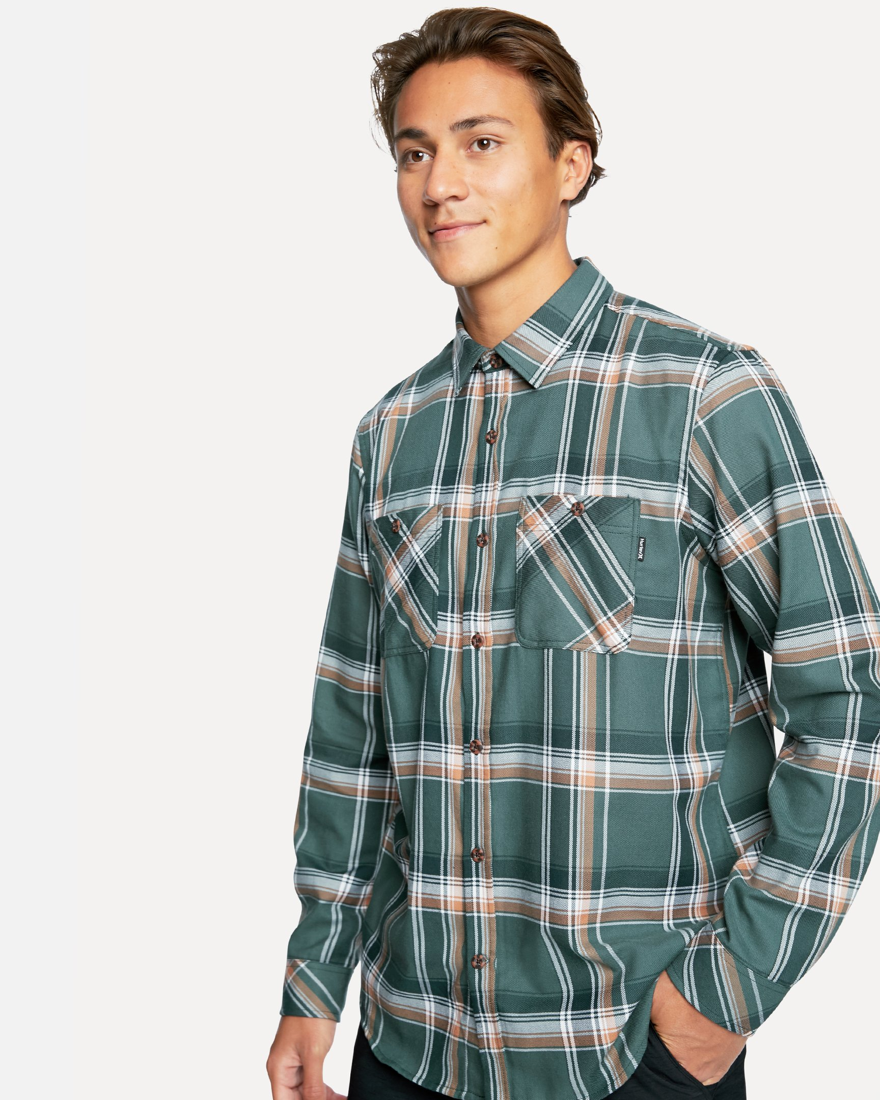 Men's Dri-Fit Hunter Flannel Long Sleeve T-Shirt in Vintage Green, Size Medium