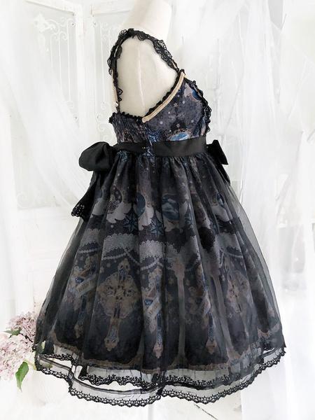Milanoo Sweet Lolita JSK Dress Lolita Printed Bows Lilac Lolita Jumper Skirts