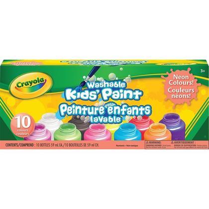 Crayola® Peinture lavable pour enfants, non toxique, 10 couleurs, 59 ml / chaque - Neon