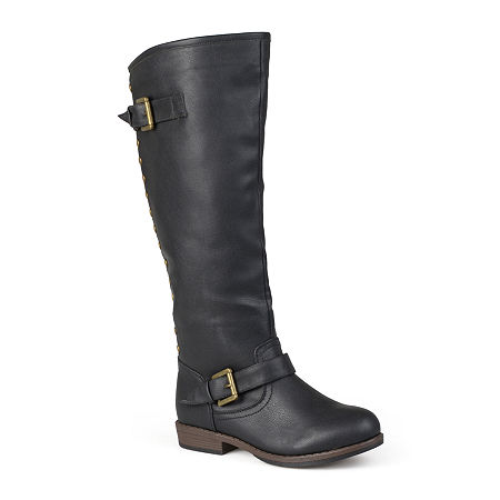 Journee Collection Womens Spokane Wide Calf Riding Boots, 8 1/2 Medium, Black