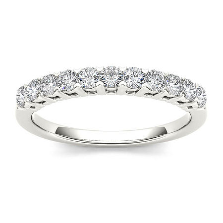2MM 3/8 CT. T.W. Genuine White Diamond 10K Gold Wedding Band, 6 , Multiple Colors