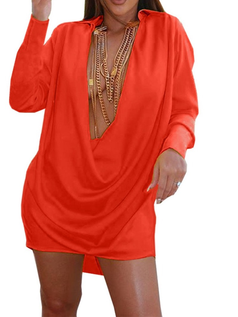 Ericdress Long Sleeve Above Knee V-Neck Regular Dress