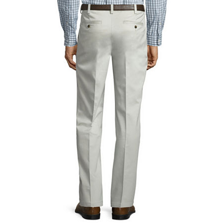 St. John's Bay Stretch Iron Free Expandable Waist Pleat Pant, 36 30, White