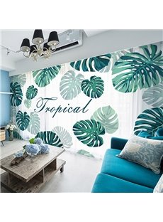 3D Tropical Green Leaves Concise Style Printed 2 Panels Custom Sheer