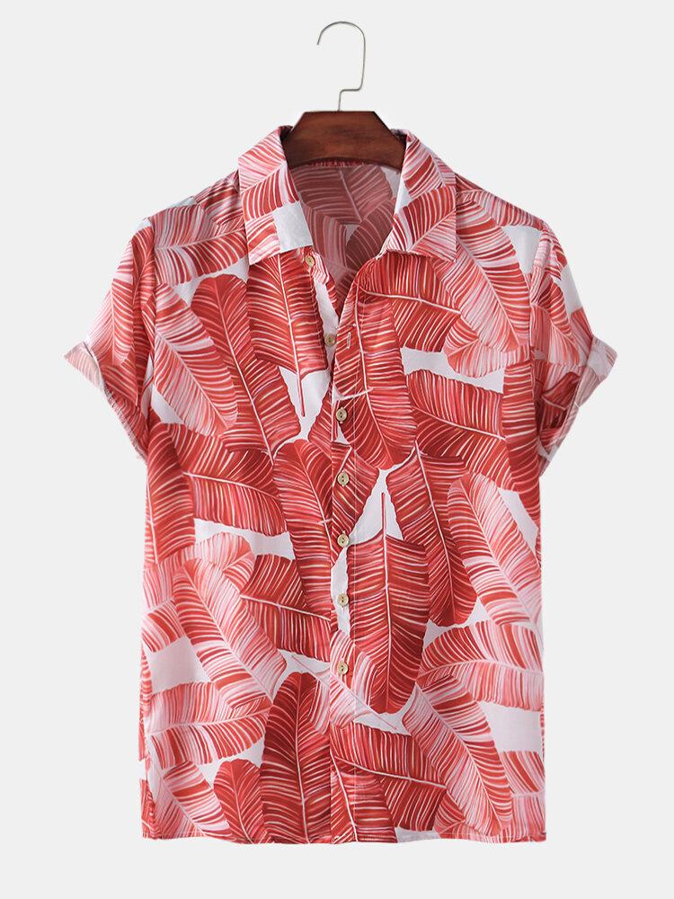 Mens Design Maple Leaves Allover Print Short Light Shirt
