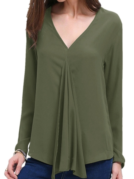 Yoins Celmia V-neck Long Sleeves Blouse